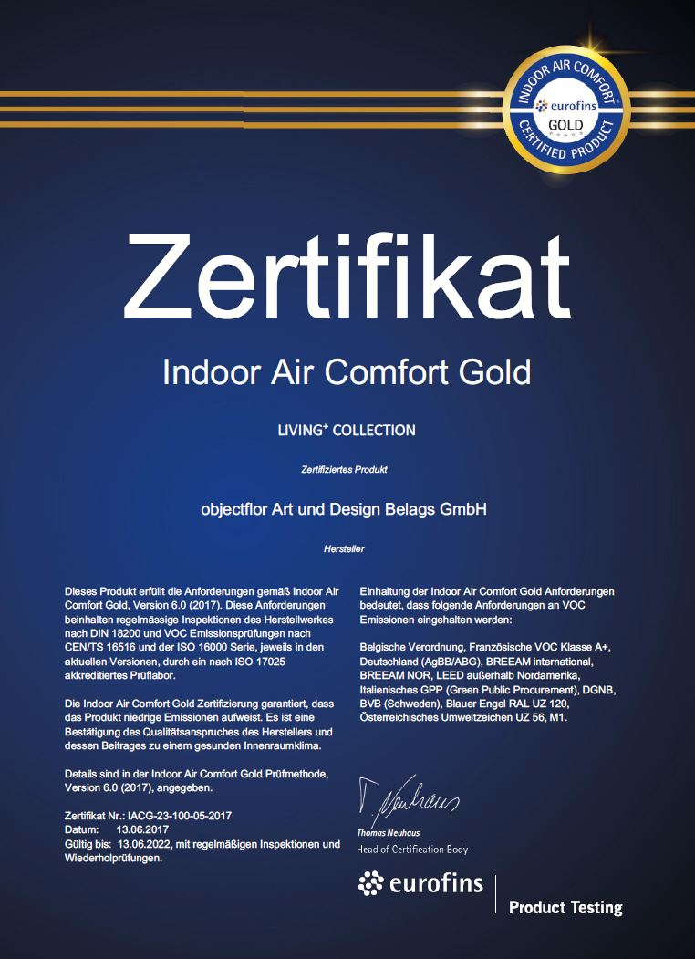 Boden4You Indoor Air Comfort Gold LIVING PLUS + objectflor Vinyl Design Boden Bodenbelag Angebot frachtfrei Vinylboden günstig kaufen PVC