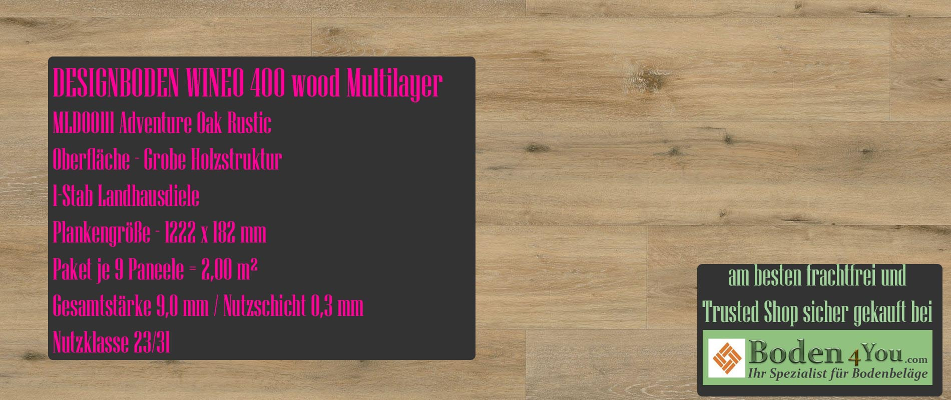 Wineo 400 Multilayer Adventure Oak Rustic @ Boden4You.com Design Bodenbelag günstig und Trsuted Shop sicher kaufen