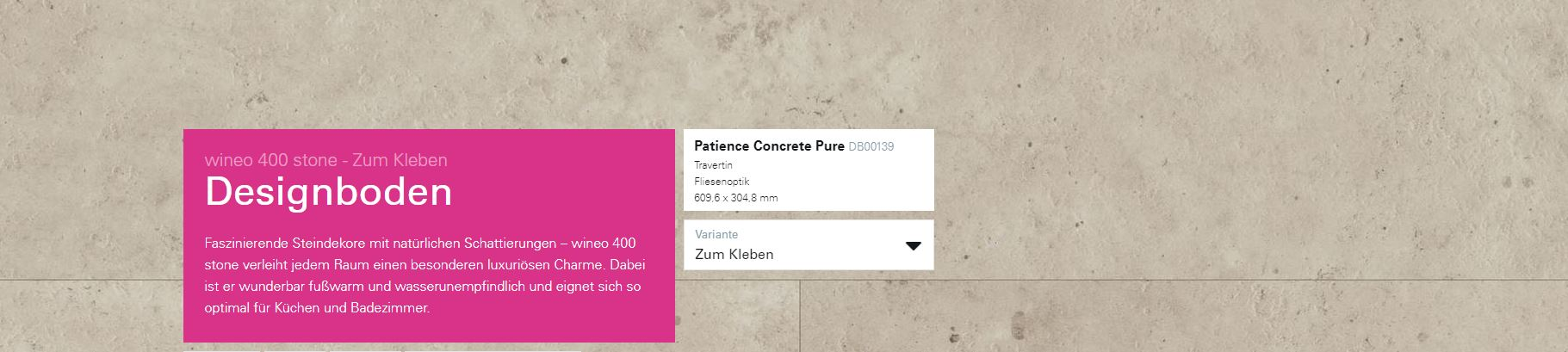 Wineo 400 Fortune Steindesign Patience Concrete Pure DB00139 @ Boden4You.com Design Bodenbelag günstig und Trsuted Shop sicher kaufen