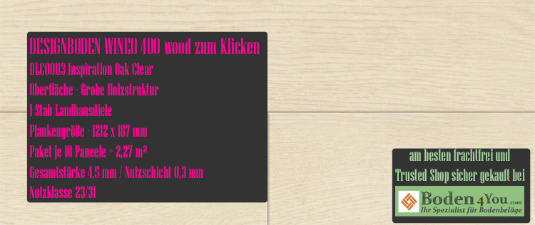 Wineo 400 Wood Klicken Inspiration Oak Clear @ Boden4You.com Design Bodenbelag günstig und Trsuted Shop sicher kaufen