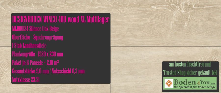 Wineo 400 XL! Wood Multilayer Silence Oak Beige @ Boden4You.com Design Bodenbelag günstig und Trsuted Shop sicher kaufen