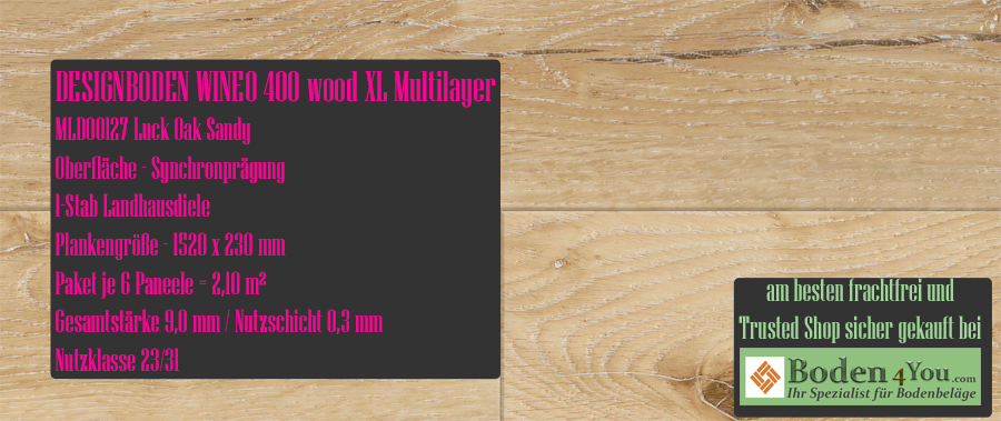 Wineo 400 XL! Wood Multilayer Luck Oak Sandy @ Boden4You.com Design Bodenbelag günstig und Trsuted Shop sicher kaufen