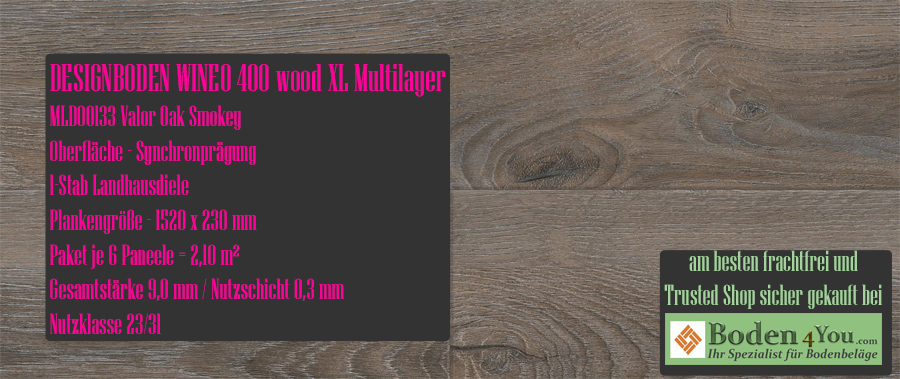 Wineo 400 XL! Wood Multilayer Valor Oak Smokey @ Boden4You.com Design Bodenbelag günstig und Trsuted Shop sicher kaufen