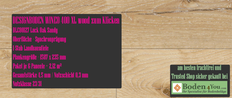 Wineo 400 XL Wood Klicken Luck Oak Sandy @ Boden4You.com Design Bodenbelag günstig und Trsuted Shop sicher kaufen