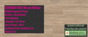 WINEO 400 Multilayer Klick Compassion Oak Tender MLD00109 Planke zum Klicken je 1222 x 182 mm, Paket je 2,00 m²
