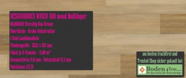 WINEO 400 Multilayer Klick Eternity Oak Brown MLD00120 Planke zum Klicken je 1222 x 182 mm, Paket je 2,00 m²