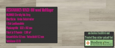 WINEO 400 Multilayer Klick Eternity Oak Grey MLD00121 Planke zum Klicken je 1222 x 182 mm, Paket je 2,00 m²