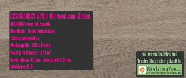 WINEO Windmöller 400 Klicken www.Boden4You.com MLD00106 Grace Oak Smooth Vinyl Design Bodenbelag PVC LVT Bad Wohnen Arbeiten kleben günstig frachtfrei TÜV Trusted Shop sicher kaufen Designvinyl