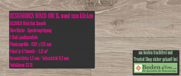 Wineo 400 XL Wood zum Klicken DLC00131 Wish Oak Smooth @ Boden4You.com Vinyl Design Bodenbelag günstig und Trusted Shop sicher kaufen